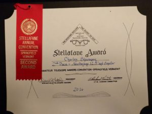 Charlie Stevenson's f/5.7 string telescope won a 2nd place award at Stellafane 2016