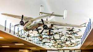 A massive array of scale models greet visitors to the New England Air Museum — at New England Air Museum.