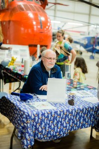 AAS Facilities Manager, Bob Peloquin, had plenty of stickers for junior attendees — at New England Air Museum.