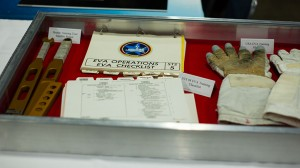 One Giant Leap had many items on display including these EVA gloves — at New England Air Museum.