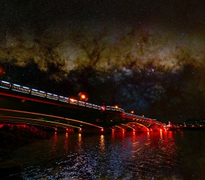 White City Bridge and Milky Way composite by Ken Cleveland